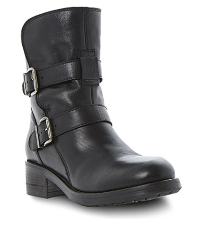 dune peggy black leather biker boot