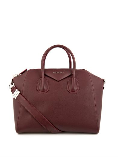 givenchy leather burgundy tote