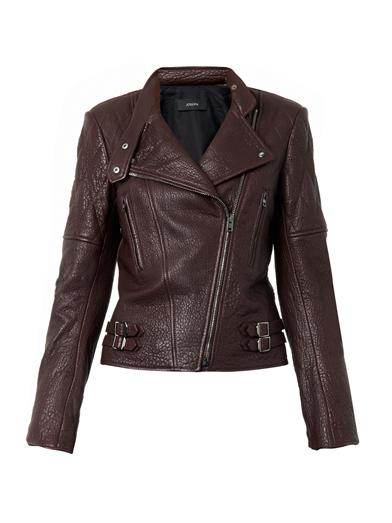 burgundy leather biker jacket